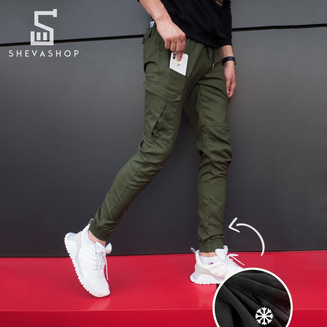 Теплые брюки карго мужские Pobedov Multi Pockets хаки S