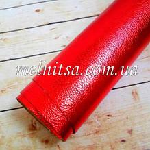 Кожзам на тканевой основе, 35х20 см, цвет красный
