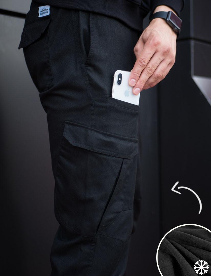 4b832607 Теплые брюки карго мужские Pobedov Multi Pockets черные S - купить ...