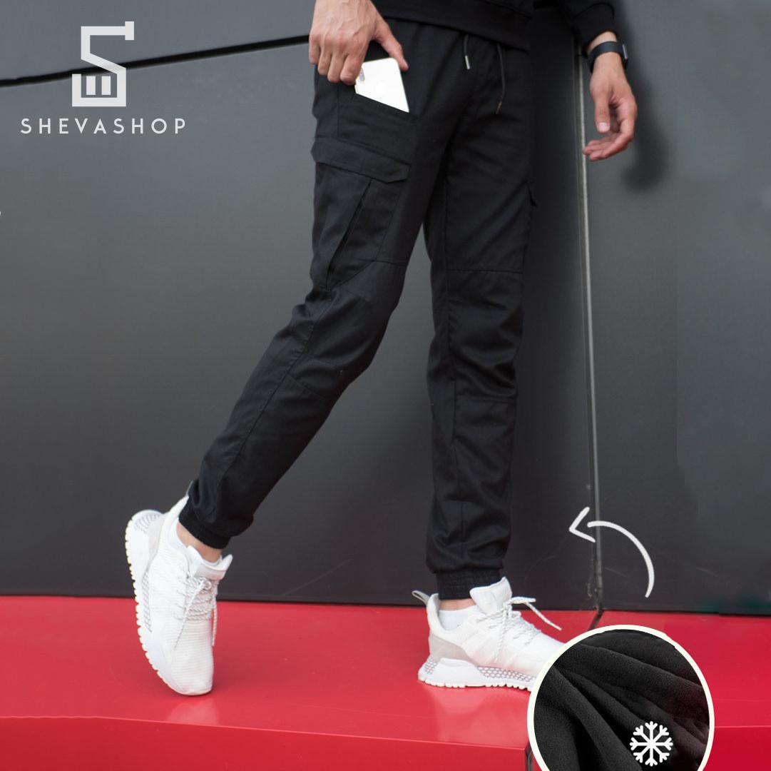 Теплые брюки карго мужские Pobedov Multi Pockets черные S