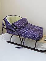 Конверт в санки фиолетовый со снежинками, фото 1