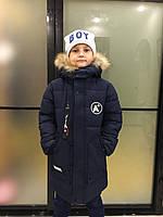 Детская зимняя куртка для мальчика, 7-11 лет, темно-синяя, фото 1