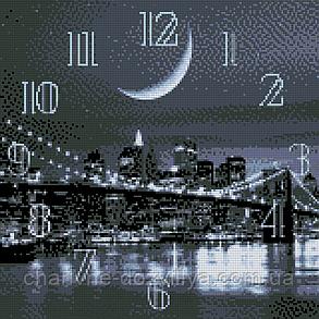"""Набор алмазной вышивки (мозаики) """"Часы - Ночной город"""", фото 2"""