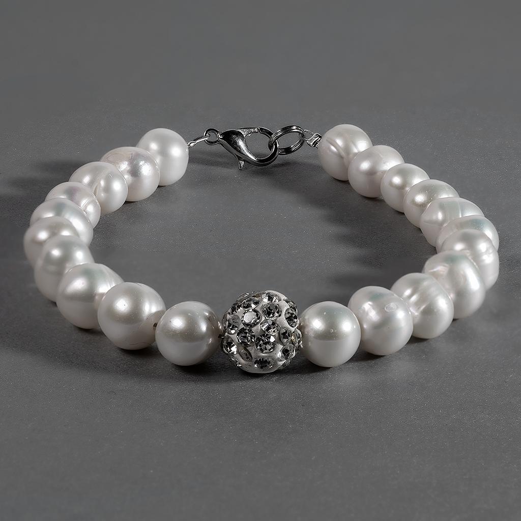 Перли білий, Ø9 мм., браслет, 116БЖ
