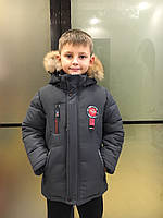 Детская зимняя куртка для мальчика, 4-8 лет, серая, фото 1