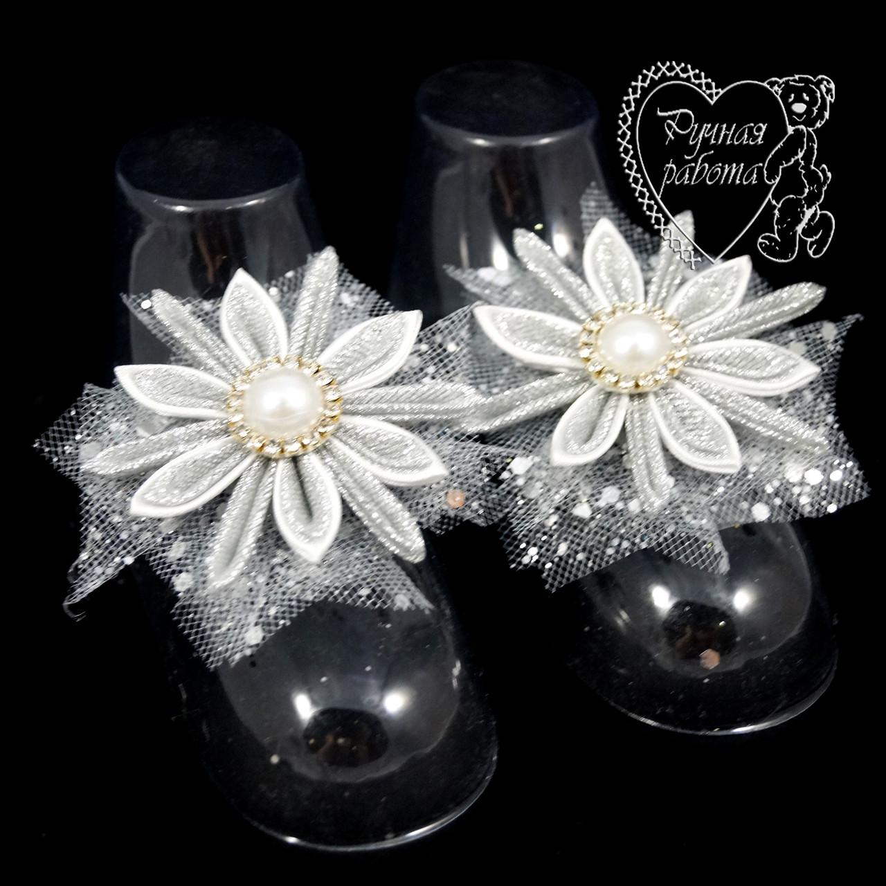 Набір 2 маленькі сніжинки на туфельки, шпилька, брошка
