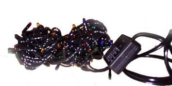 Гирлянда электрическая черный шнур 200л (6м) цветная лампа