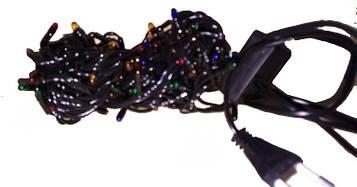 Гирлянда электрическая черный шнур 140л (5м) цветная лампа
