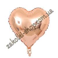 Фольгированные воздушные шары, форма:сердце, цвет: розовое золото, 18 дюймов/45 см, 1 штука
