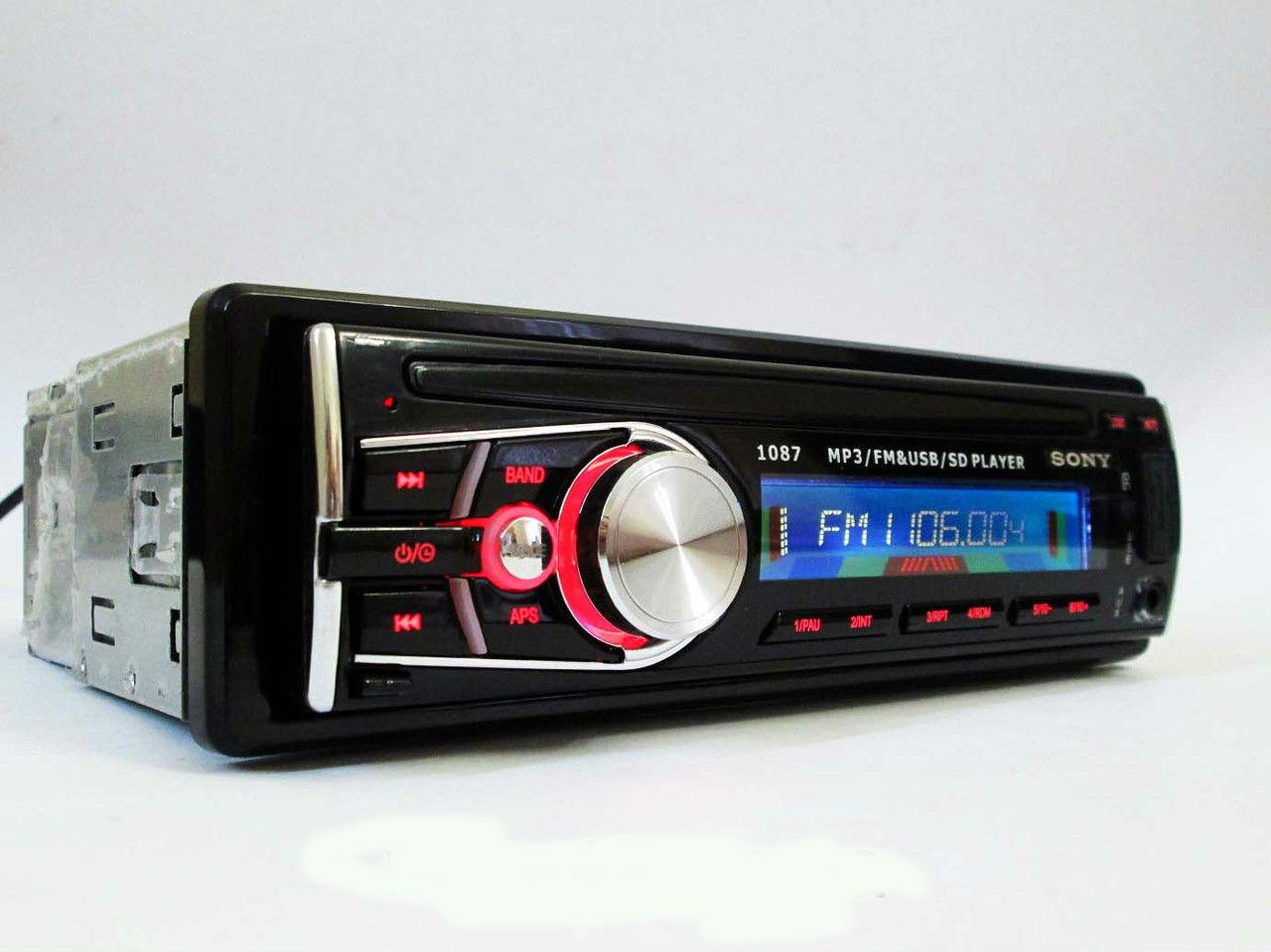 Магнитола в автомобиль Sony 1087 + многофункциональный пульт автомагнитола сони с диском
