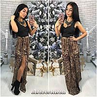 a8bba6cd151 Женское платье в пол с открытым декольте с юбкой леопардового принта