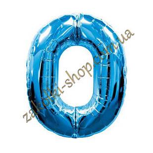 """Фольговані повітряні кулі, цифра """"0"""", розмір 32 дюймів/74 см, колір: синій, 1 штука"""