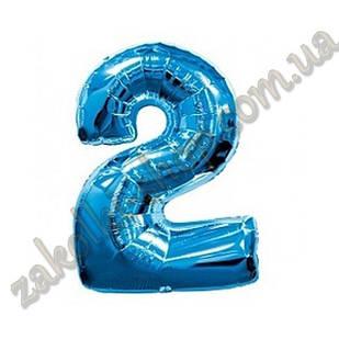 """Фольгированные воздушные шары, цифра """"2"""", размер 32 дюймов/74 см, цвет: синий, 1 штука"""