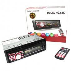 Автомагнітола Pioneer 6317 магнітола без диска 1DIN MP3 RGB універсальна автомобільна магнітола з підсвічуванням