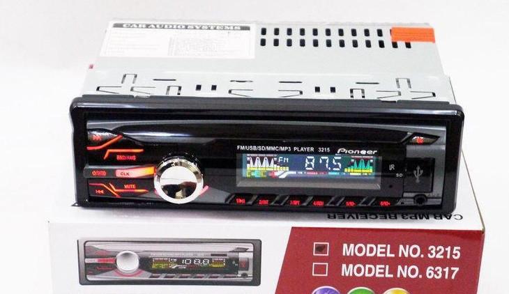 Магнитола без диска Pioneer 1DIN MP3-3215 RGB панель + пульт управления популярная с подсветкой