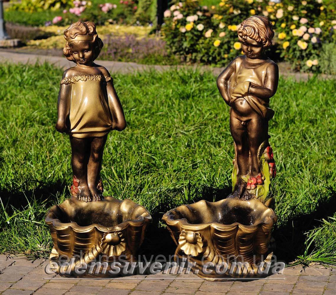 Садовая фигура подставка для цветов Саша и Маша