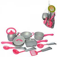 Посуда C0267, чайник, кастрюля, сковород, кухон.набор, в сетке, 19-16-12см