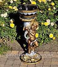 Садовая фигура подставка для цветов Мальчик с рыбой и Рог изобилия средний, фото 3