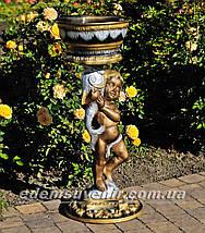 Садовая фигура подставка для цветов Мальчик с рыбой и Рог изобилия средний, фото 2