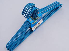 Плечики вешалки  тремпеля проволока в порошковой покраске голубого цвета, длина 39,5 см, в упаковке 10 штук, фото 3