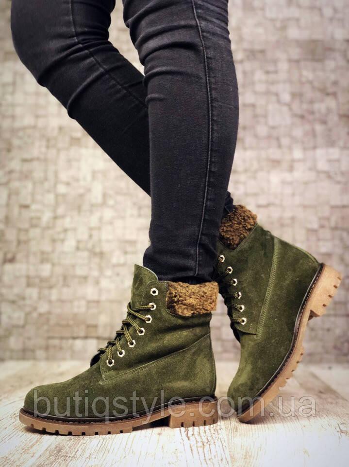Стильні зимові черевики на шнурівці хакі натуральна замша