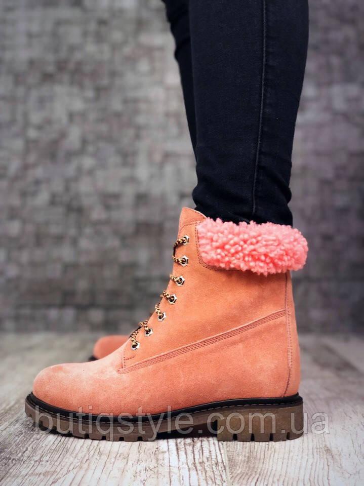 Стильные зимние ботиночки на шнуровке персиковые натуральная замша