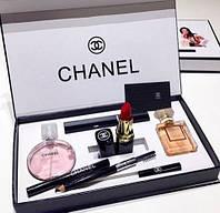 Подарочный набор парфюмерии Chanel 5 в 1, набор духов Шанель, набор косметики Шанель реплика