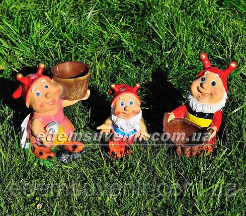 Садовая фигура подставка для цветов Букашка и Жучки, фото 2