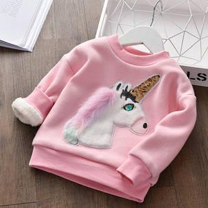 Кофта детская теплая на меху  на девочку розовая единорог , фото 2