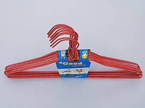 Плечики вешалки  тремпеля проволока в порошковой покраске красного цвета, длина 38,5 см, в упаковке 10 штук, фото 2