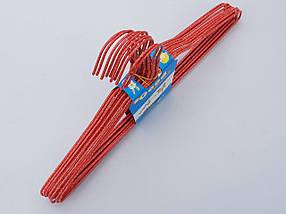 Плечики вешалки  тремпеля проволока в порошковой покраске красного цвета, длина 38,5 см, в упаковке 10 штук, фото 3