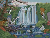 Схема для вышивки бисером Журавли у водопада
