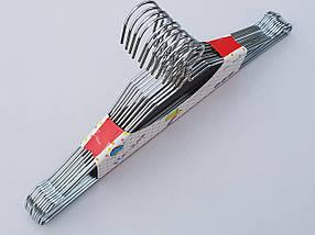 Плечики вешалки тремпеля металлические хромированные с вырезами, длина 40,5 см, в упаковке 10 штук, фото 3