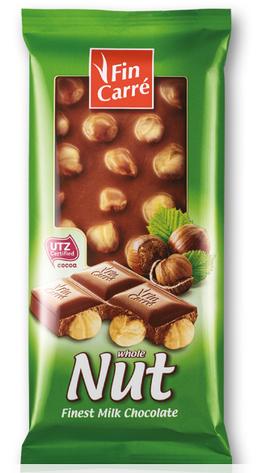 Молочный шоколад Fin Carre с цельным лесным орехом 100гр. Германия