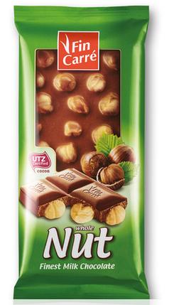 Молочный шоколад Fin Carre с цельным лесным орехом 100гр. Германия, фото 2