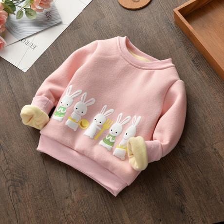 Кофта детская теплая  на девочку розовая зайчики
