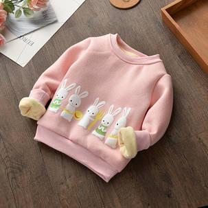 Кофта детская теплая  на девочку розовая зайчики, фото 2