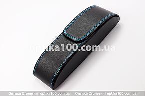 Чёрный вертикальный футляр для очков на магните со строчкой, фото 2