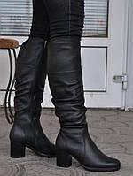 Женские зимние сапоги из натуральной кожи, на меху, черные. Размеры 36, 37, 39, 40, 41. AURA 5480700.
