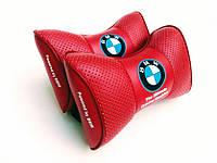 Подушка на подголовник BMW красная