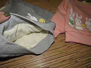 Кофта детская теплая  на девочку серая зайчики 5 лет, фото 2