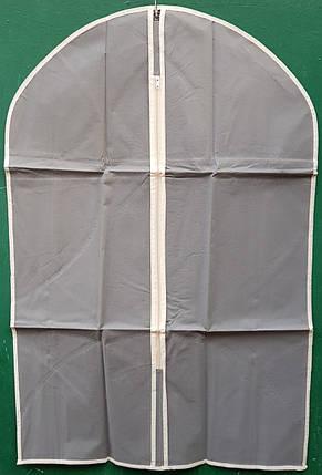 Чехол для хранения и упаковки одежды  на молнии флизелиновый  серого цвета. Размер 60 см*90 см., фото 2