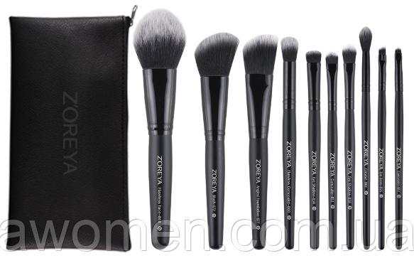 Набор кистей Zoreya 10 штук Fiber Makeup Brush (черный чехол на молнии)