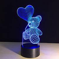 Стекло на 3D светильник, Мишка с шариком