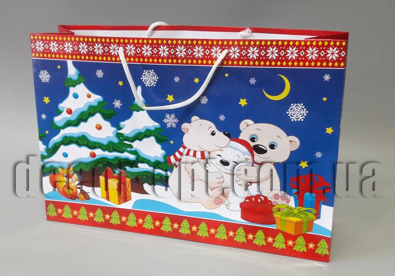 Подарочные новогодние картонные пакеты 242х359х104мм/1шт 32.021