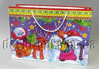 Подарочные новогодние картонные пакеты 490х340х173хмм/1шт 40.016