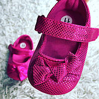 Детские нарядные малиновые  пинетки туфельки для крестин девочки, на годик, фото 1