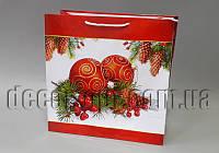 Подарочные новогодние картонные пакеты 323х323х140мм/1шт 34.042