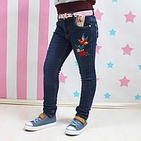 Джинсы девочке на флисе вышивка Колибри размер 134,140,146,152,158см