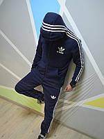 Утепленный мужской спортивный костюм с капюшоном темно синий Adidas Адидас с белыми лампасами